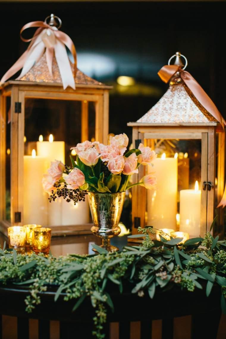 decoración mesa boda linternas
