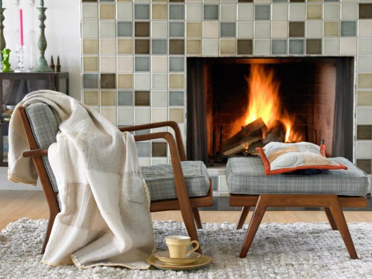 decoracion muebles salon chimenea incorporada imagenes