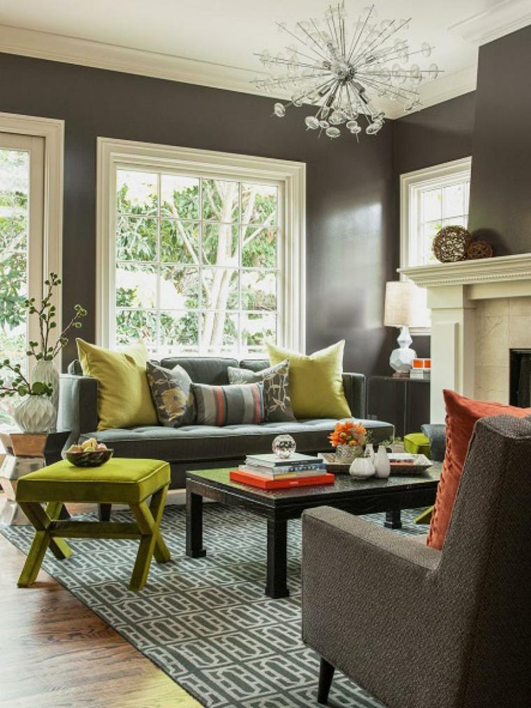 decoracion muebles salon lampara efecto dramatico rayas