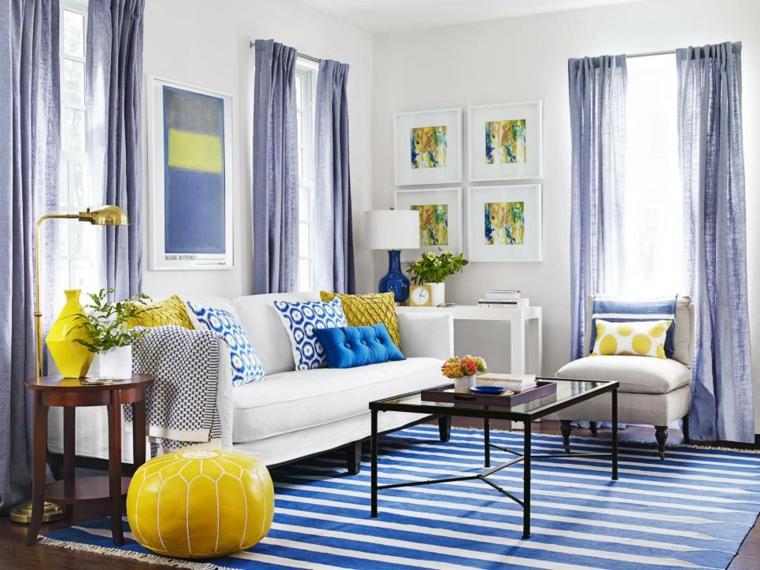 decoracion muebles salon acentos color cortinas