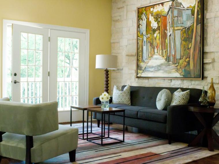 decoracion muebles salon contrastes muebles lineas