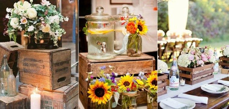 decoración rústica para bodas mesa