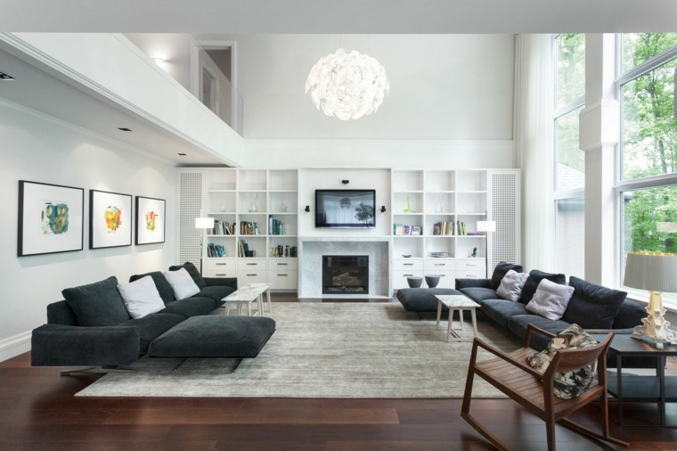 decoracion salon amplio sofas negros Rene Desjardins ideas
