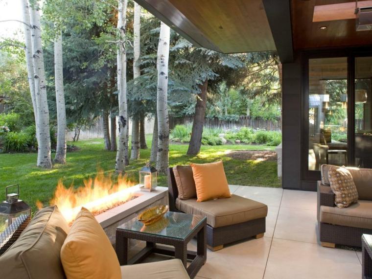 decoracion terraza cuvierta fuego piedras