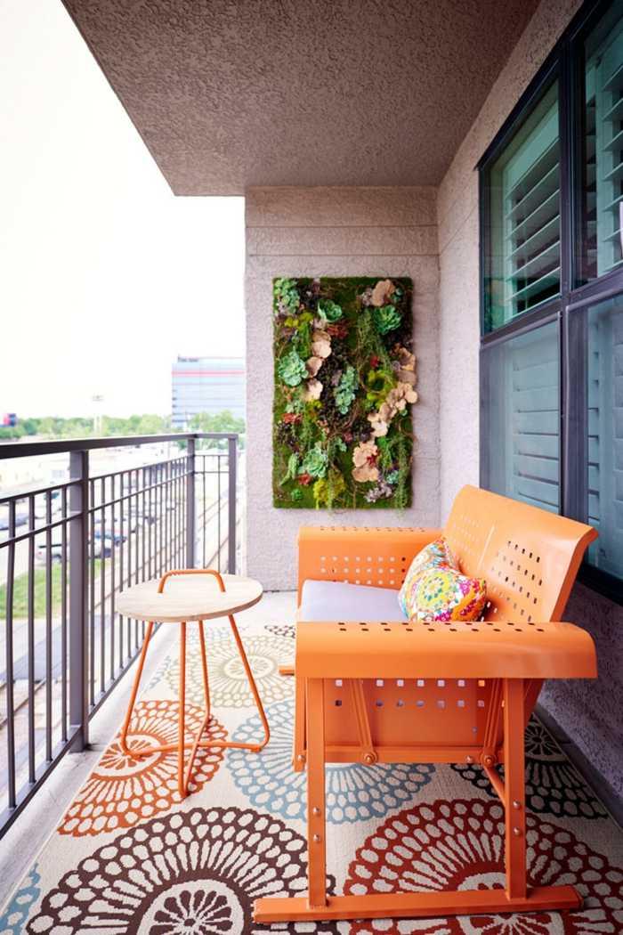 decorar balcon estrecho alfombras verticales