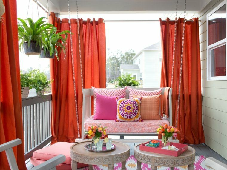 Decorar balcon peque o chill out 50 ideas creativas - Cortinas para el sol ...