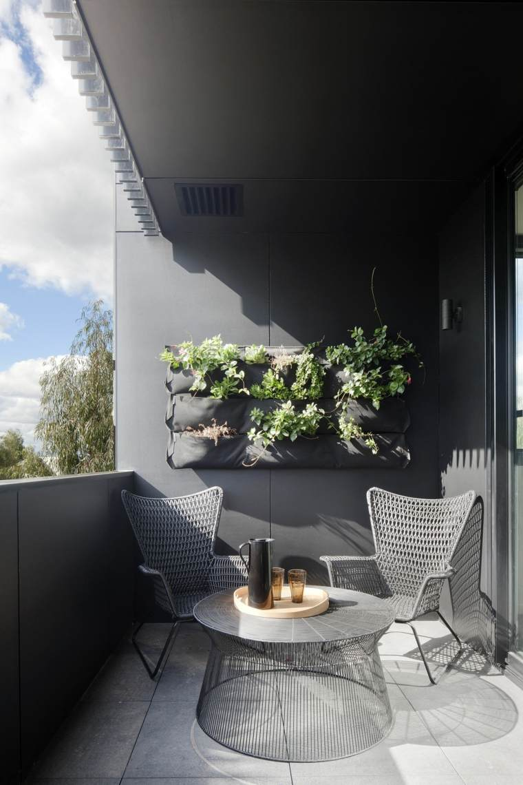 decorar balcon pequeño chill out exteriores diseno gris ideas