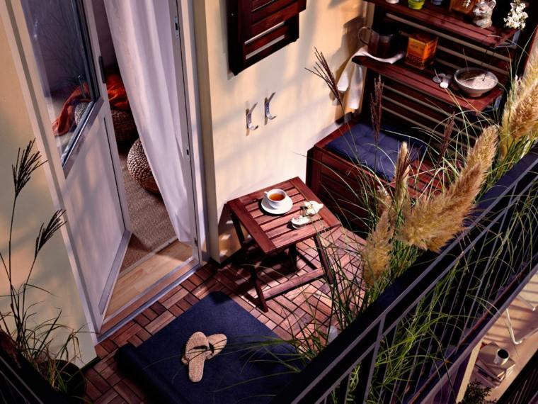 decorar balcon pequeño chill out exteriores madera muebles ideas