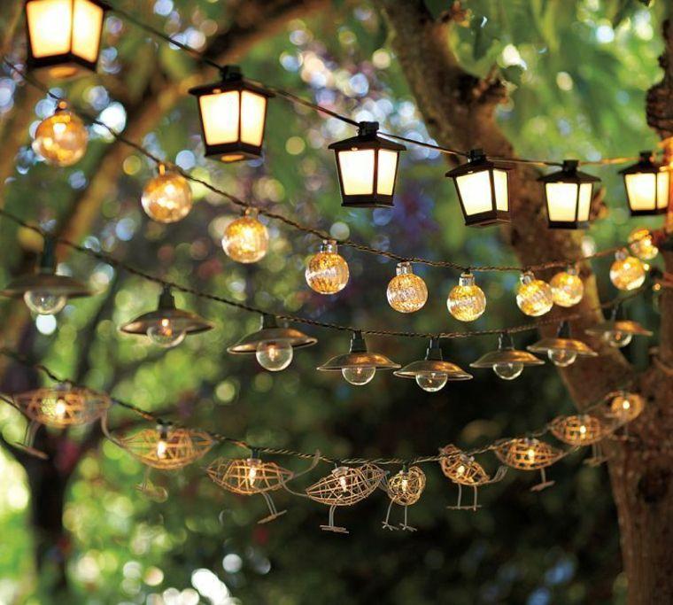 decorar el jardin guirnaldas linternas