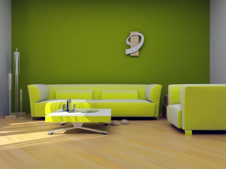 decorar paredes salón verde