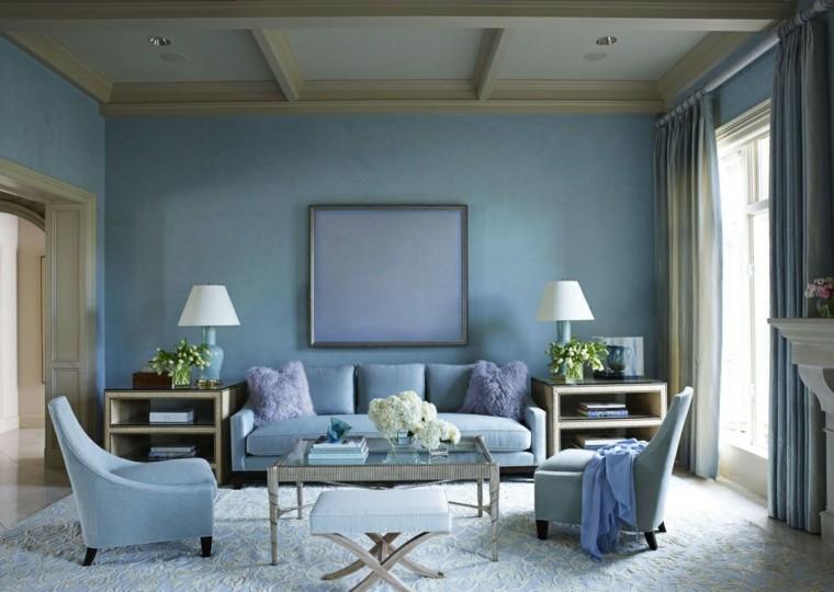 decorar sala de estar azul