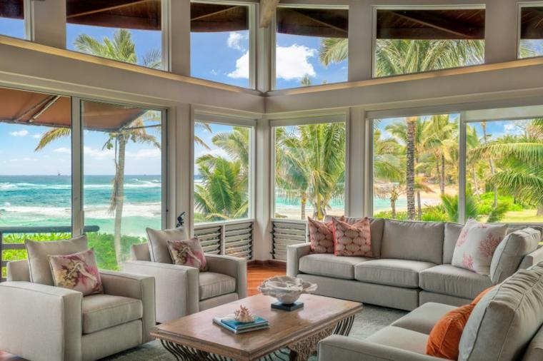 decorar salones acogedores luminoso tropical plantas
