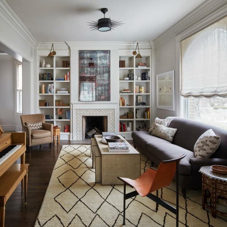 decorar salones acogedores neutral contemporaneo muebles