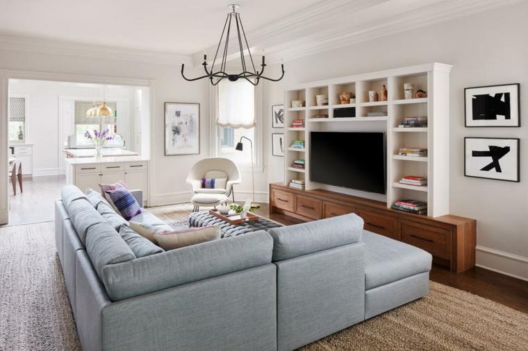 decorar salones acogedores sofa separador negro