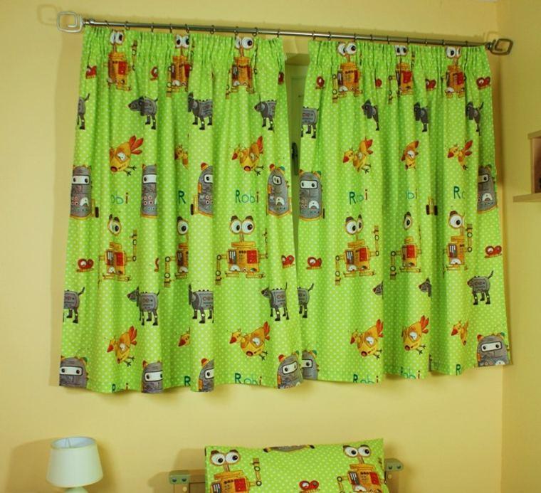 diseños de cortinas para niños verde