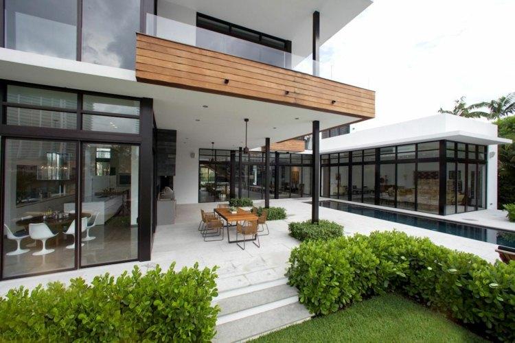 diseños de terrazas cerradas muebles luces empotradas