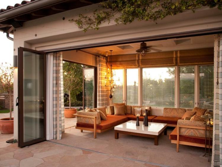 diseños de terrazas cerradas puertas cristales cortinas