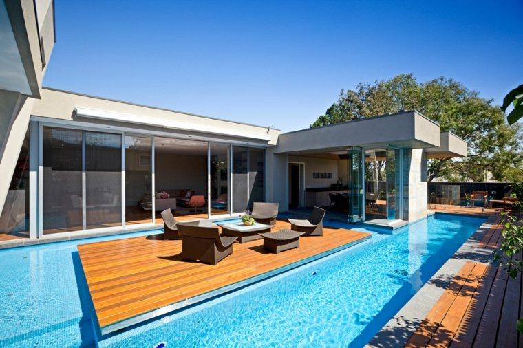 disenos de terrazas exteriores casa piscina ideas