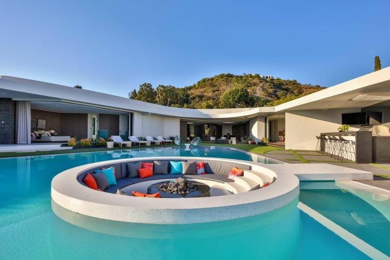 disenos de terrazas exteriores jardin piscina diseno ideas