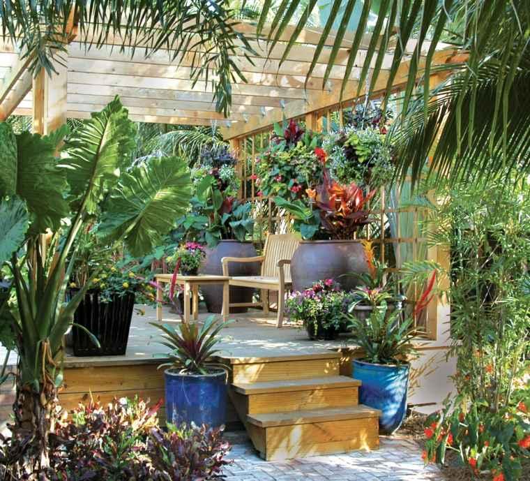 disenos de terrazas exteriores paradisiacos plantas pergola ideas