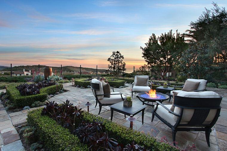 disenos de terrazas exteriores plato fuego ideas