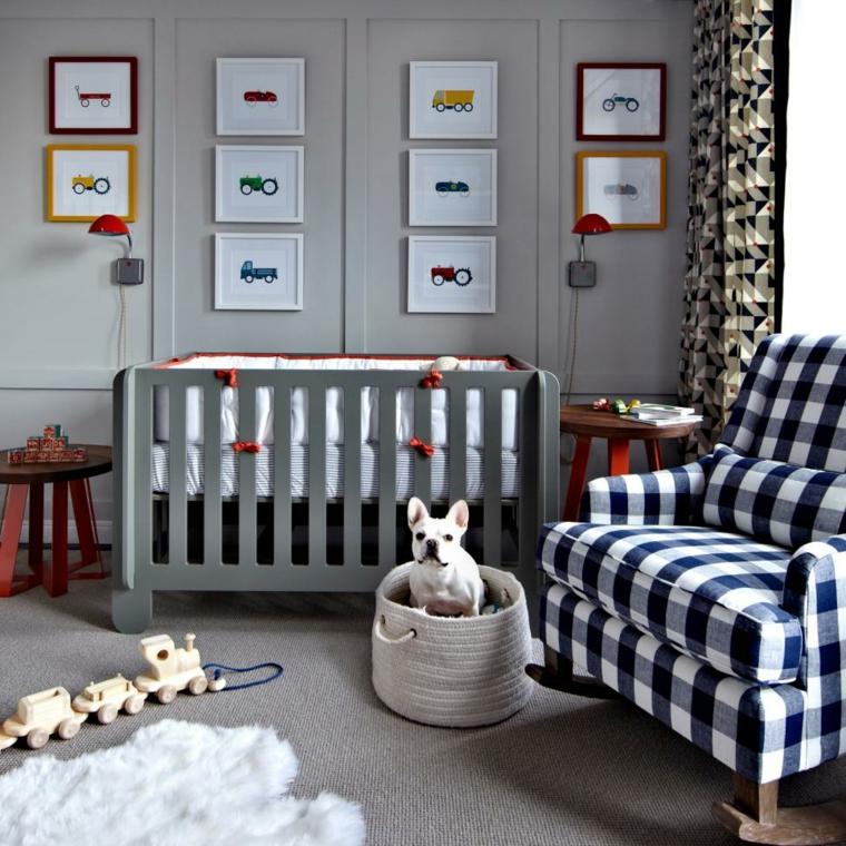 dormitorios bebe masculino cuadros cortinas
