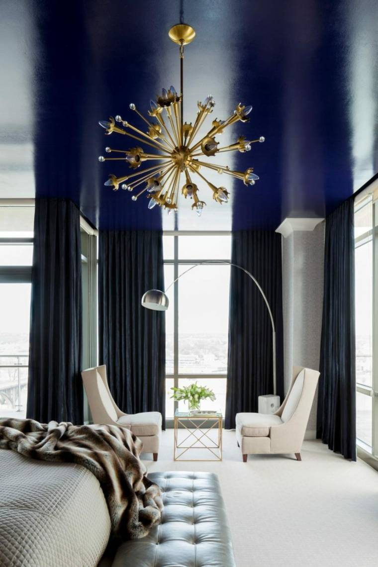dormitorios diseño dramatico lampara metal dorado