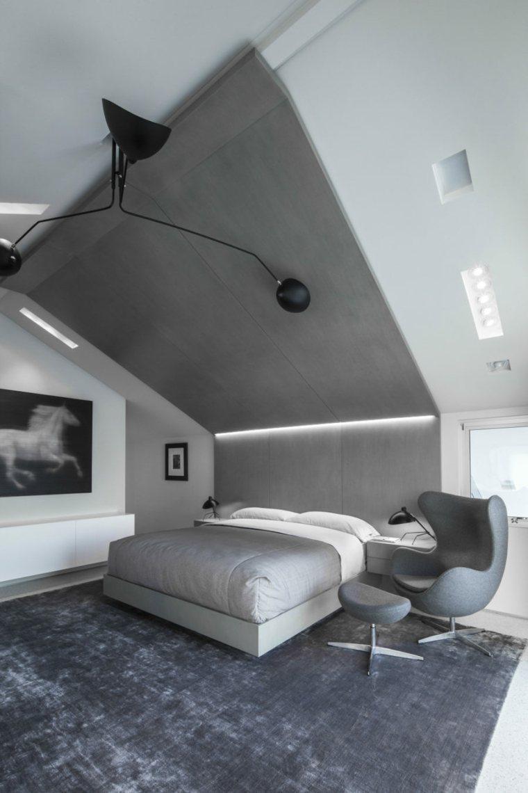 dormitorios diseño gris led techo sillones