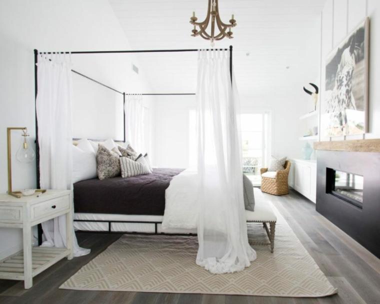 dormitorios diseño romantica cuadros paredes metales