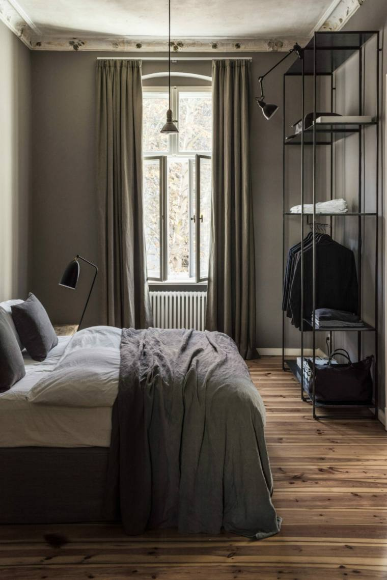 dormitorios diseño suelo madera especial negro