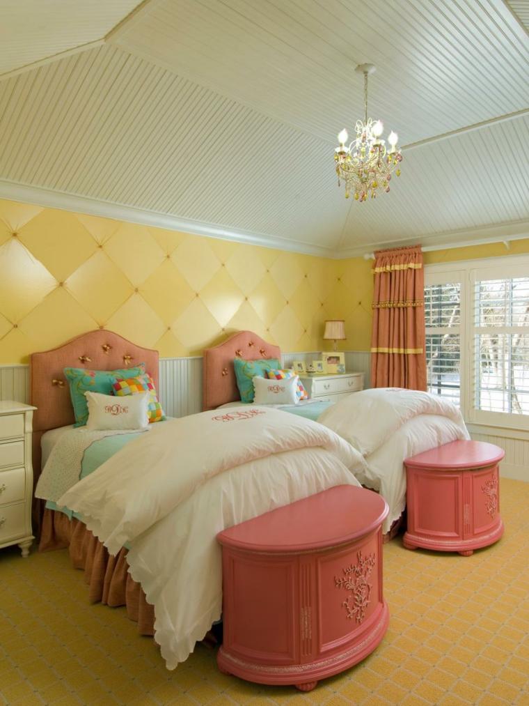 elegante ninas amarillo rosado puertas