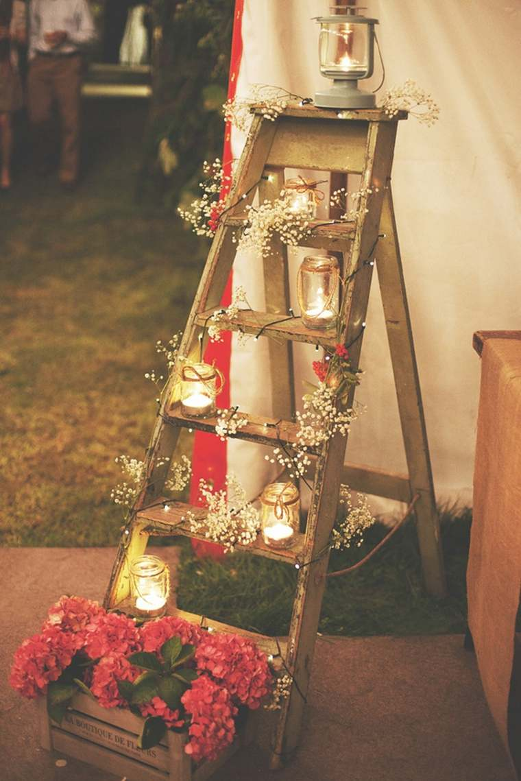 escalera estilo vintage boda