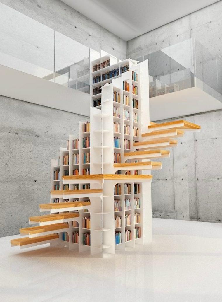Escaleras de interior e ideas creativas para incorporar librerías -