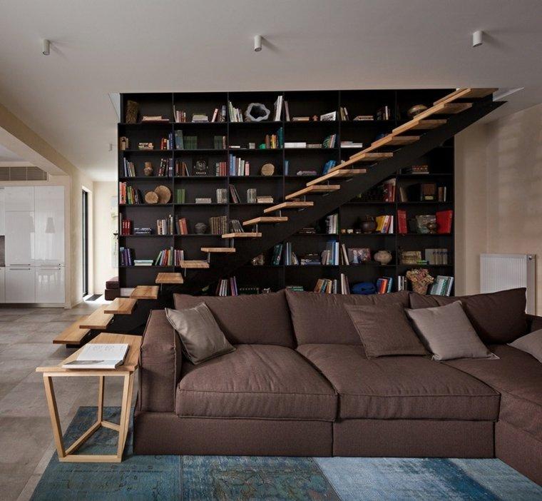 escaleras-de-interdiseno escalones madera libreria negra Sergey Makhno Architects ideas