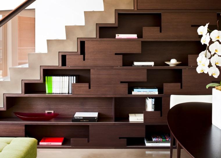 escaleras de interior diseno madera oscura elegante Kerr Construction ideas