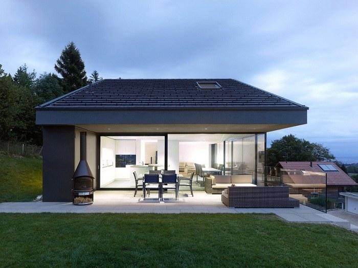 terraza diseño minimalista colores conceptos chimenea
