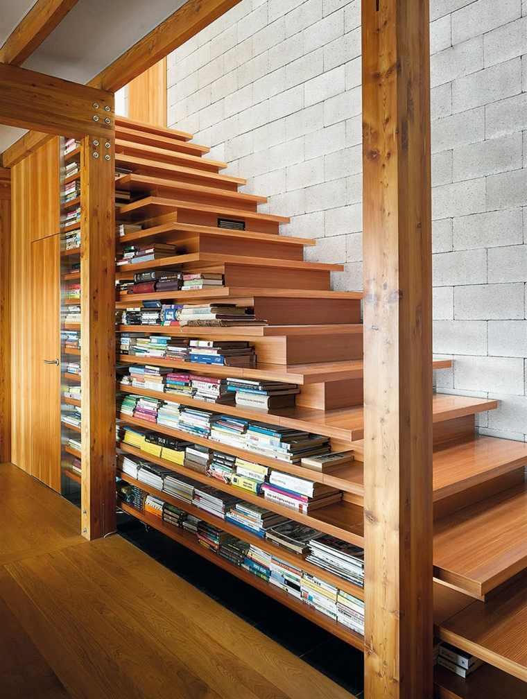 estanterias debajo escaleras madera opciones estilo ideas