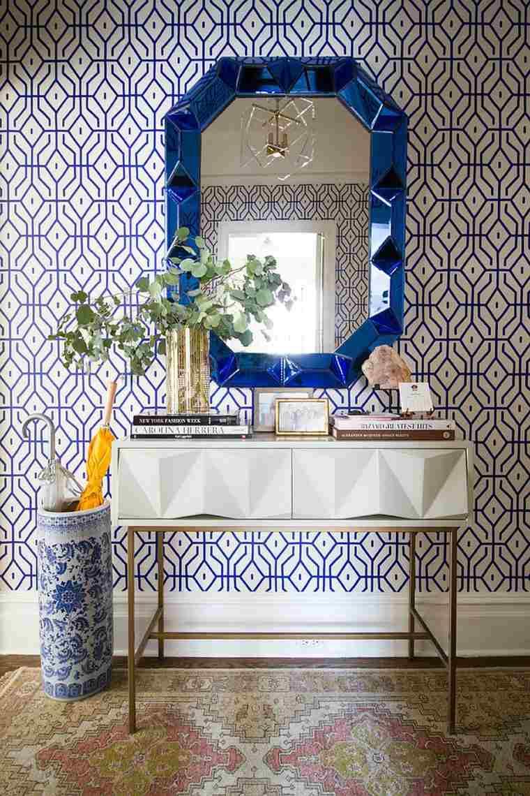 estupendo recibidor espejo azul