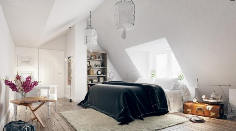 estupenda decoración habitación buhardilla