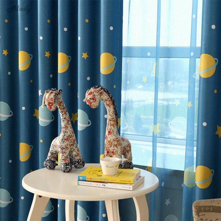 estupenda cortina azul planetas
