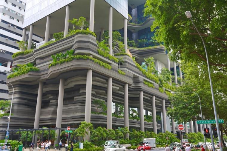 fachada verde edificio moderno