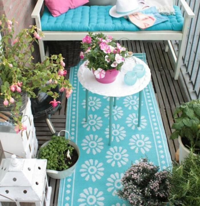 floral azul alfombra espacios mesas centro auxiliares