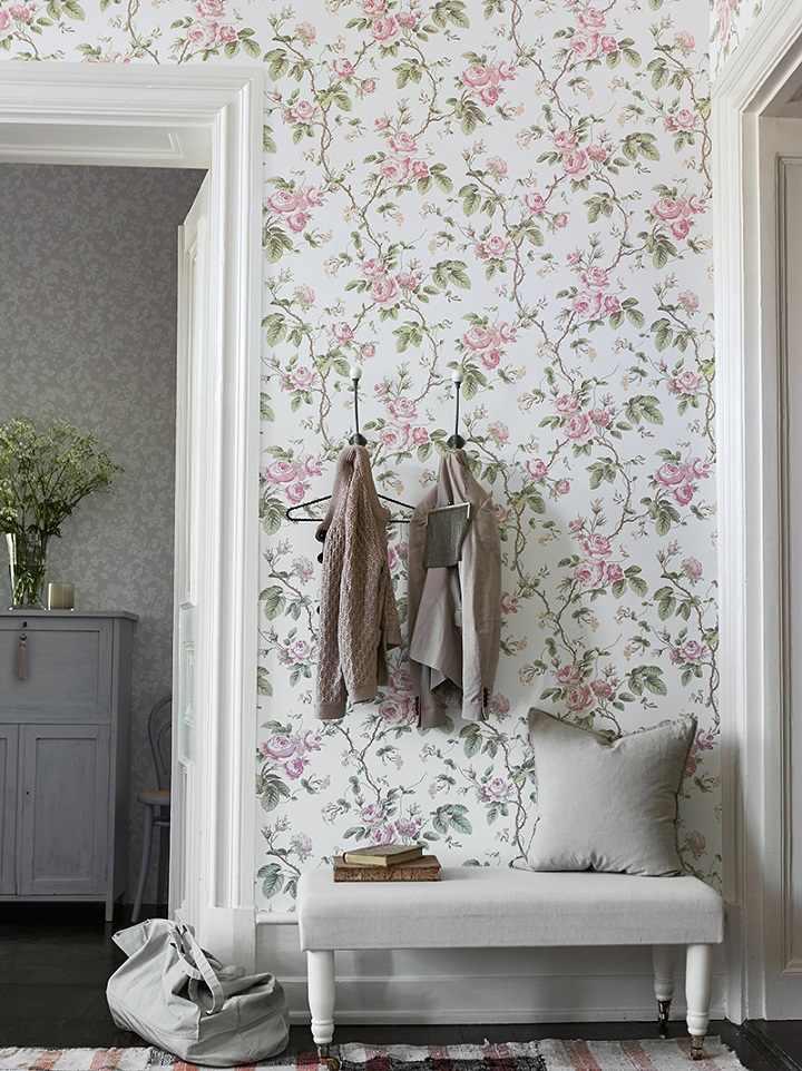 florales tradicionales rosa estantes grises