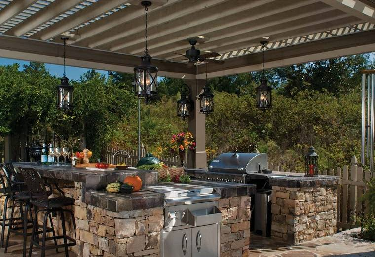 fotos de cocinas jardin barra isla piedra diseno pergola ideas