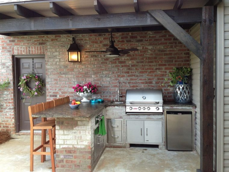 fotos de cocinas jardin barra pergola diseno ideas