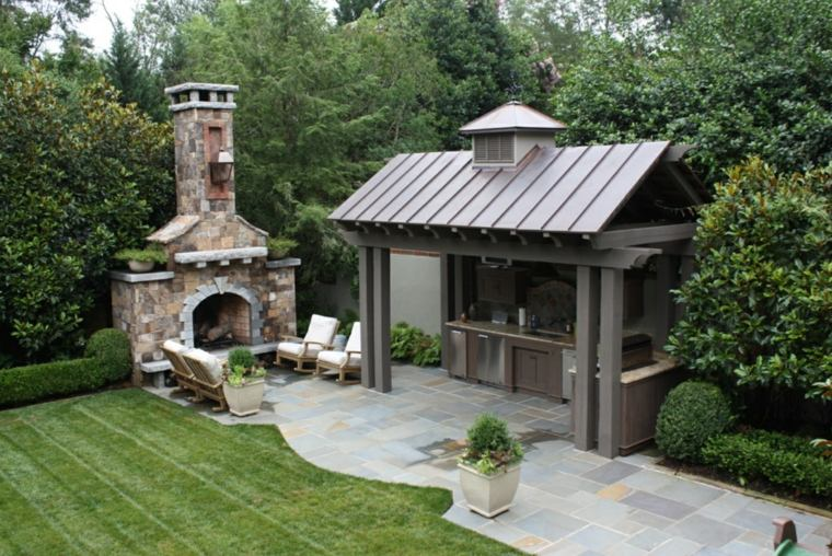 fotos de cocinas jardin chimenea rustica piedras ideas