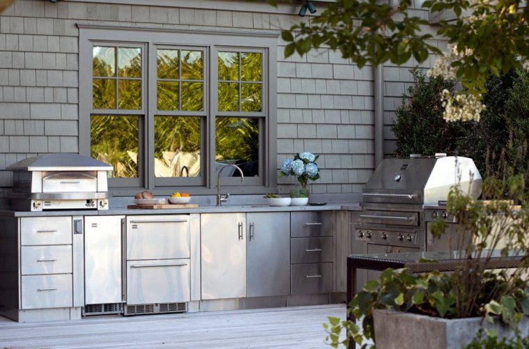 fotos cocinas jardin estilo industrial muebles acero ideas
