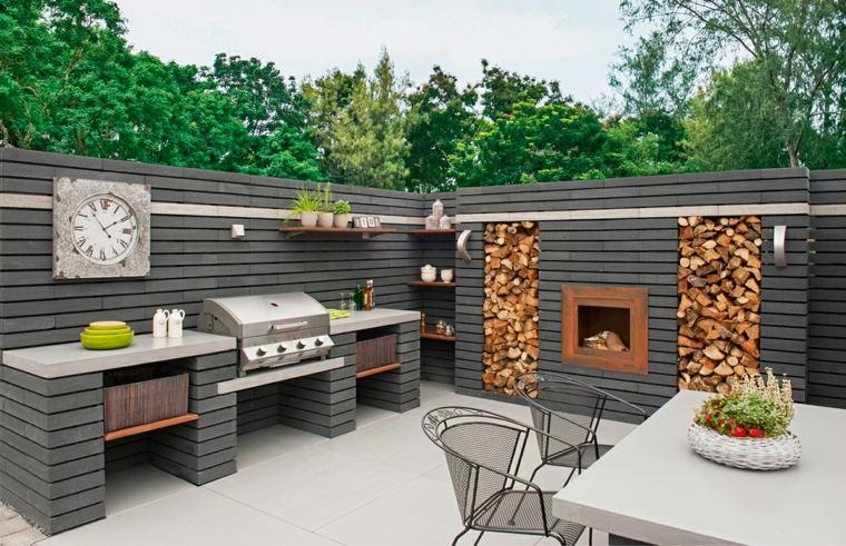 fotos de cocinas terraza chimenea opciones diseno ideas