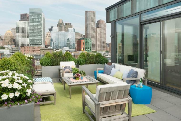 fresca tejados nuevos mesas verdes