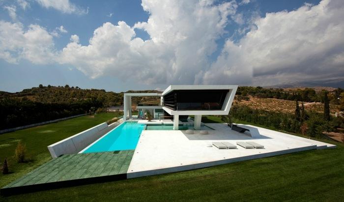 futurista elegante terraza campo camas